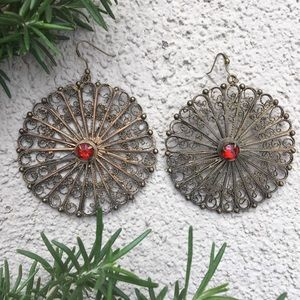 Urban Outfitters Brass Circle earrings red stone